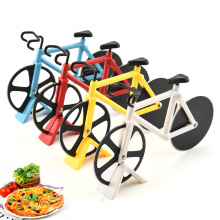New Pizza Cutter Stainless Steel Knife Two-wheel Bicycle Shape Cutting Tool Bike Round Knives