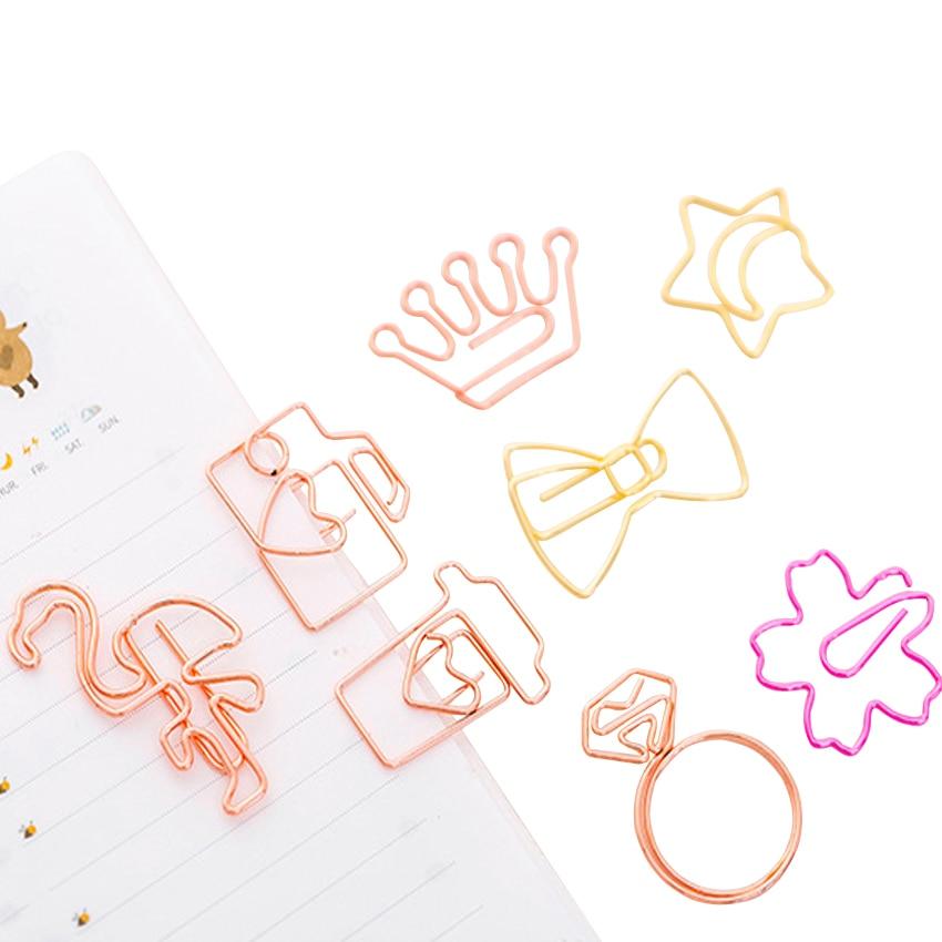 5pcs/lot Kawaii Cartoon Mini Ten Styles Book Marker Memo Clips Kawaii Stationery Bookmark Metal For Books And Gifts
