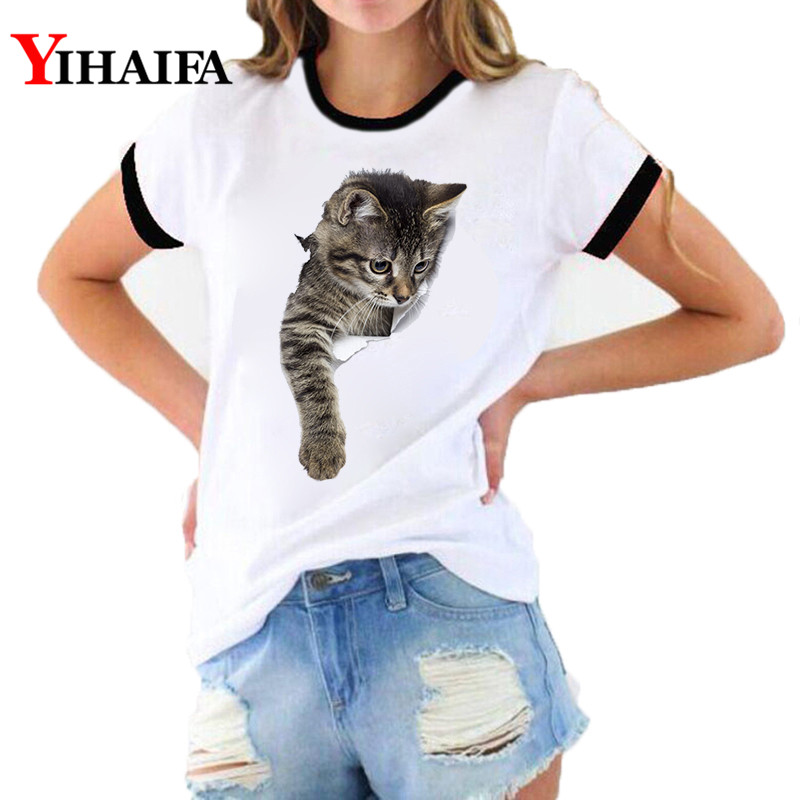 New Fashion Women 3D Print T Shirts Cat Graphic Tees Summer Lady White Casual Unisex Short Sleeve Tops Woman Clothes