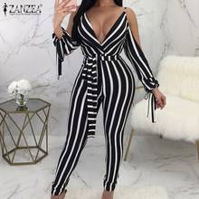 S 5XL 2020 Summer V Neck Striped Jumpsuits Women Slim Playsuit ZAZNEA Fashion Sexy Blackless Cold-shoulder Overalls Rompers(China)