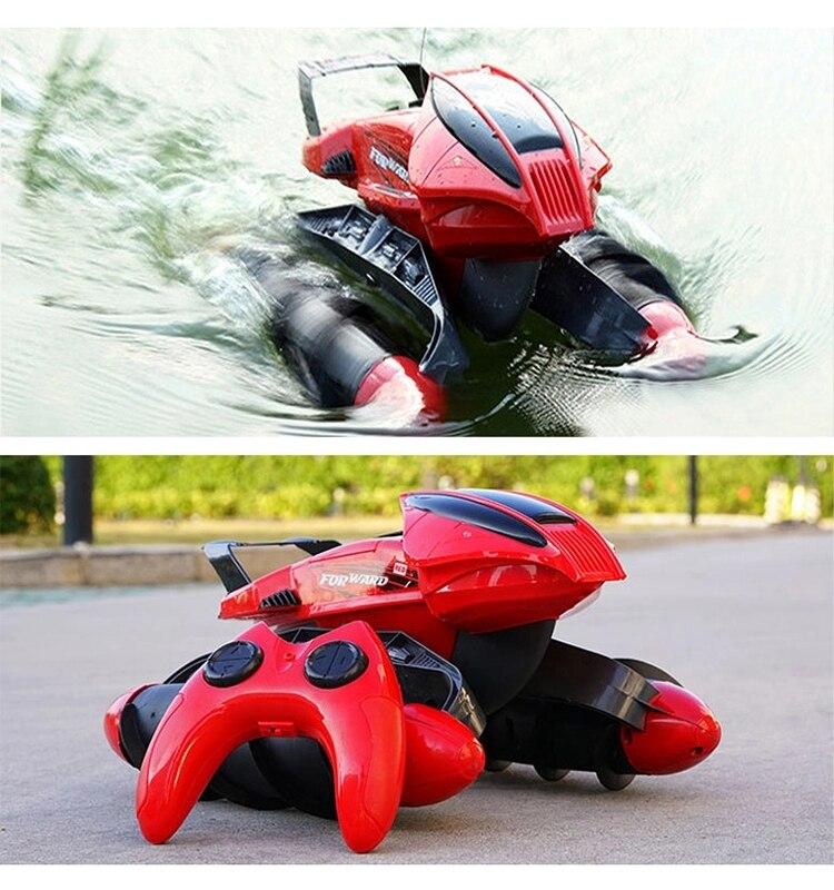 A prueba de agua RC coche tanque anfibio carretera truco RC coche aplicar a todas las carreteras luz diseño especial de juguete de Control remoto - 2