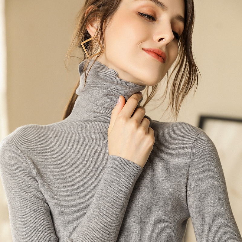 Autumn and Winter New Cashmere Sweater Women High Collar Pullover Fashion Sweater Warm Bottom Sweater 19