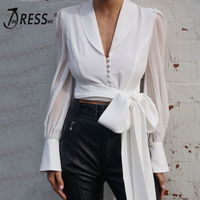 INDRESSME 2019 New Women Solid Office Lady Long Mesh Sleeve V Neck Shirt With Lace Up Bow White Sexy Casual Lady Top INS