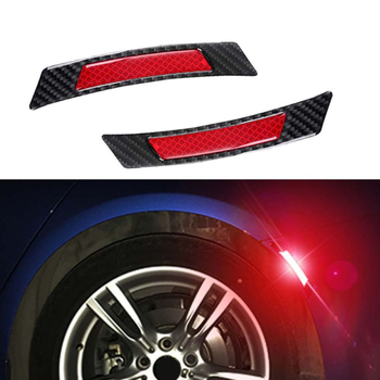 2pc Carbon Fiber Red Reflective Fender Car Wheel Eyebrow Protector Trim Sticker image