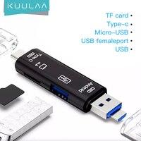 KUULAA todo en uno tipo C USB Adaptador Micro USB SD/ Micro SD/lector de tarjetas TF OTG PC Andriod lector externo de tarjetas multimemoria