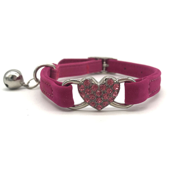 Heart-shaped Dog Collar PU Cat Collar Neck Size 30CM For Small Medium Dogs Cats Pet Products Black Pink Blue Rose Red image