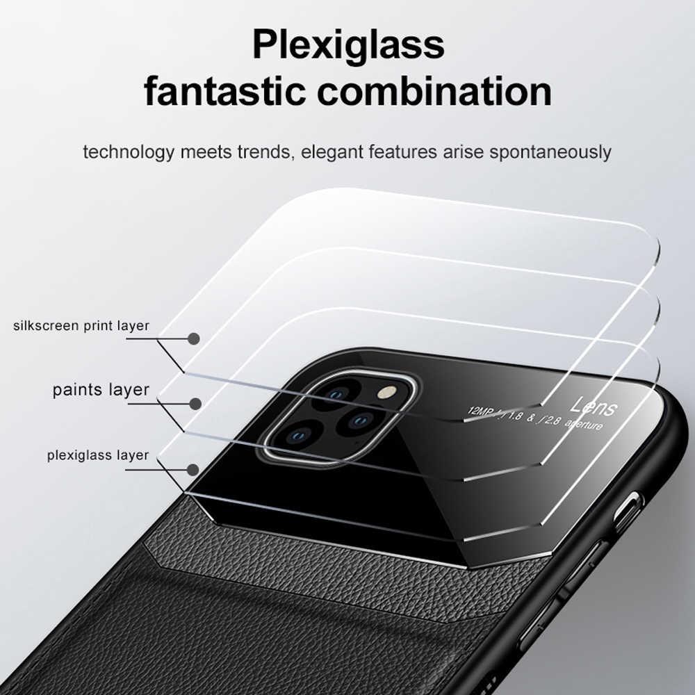 Funda de cuero de cristal templado espejo a prueba de golpes de lujo para iPhone 11 Pro Max 7 8 Plus