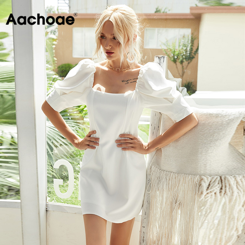 Aachoae Summer Elegant White Mini Dress Women Fashion Puff Sleeve Pleated Party Dress Square Collar Casual Tunic Dress Vestidos