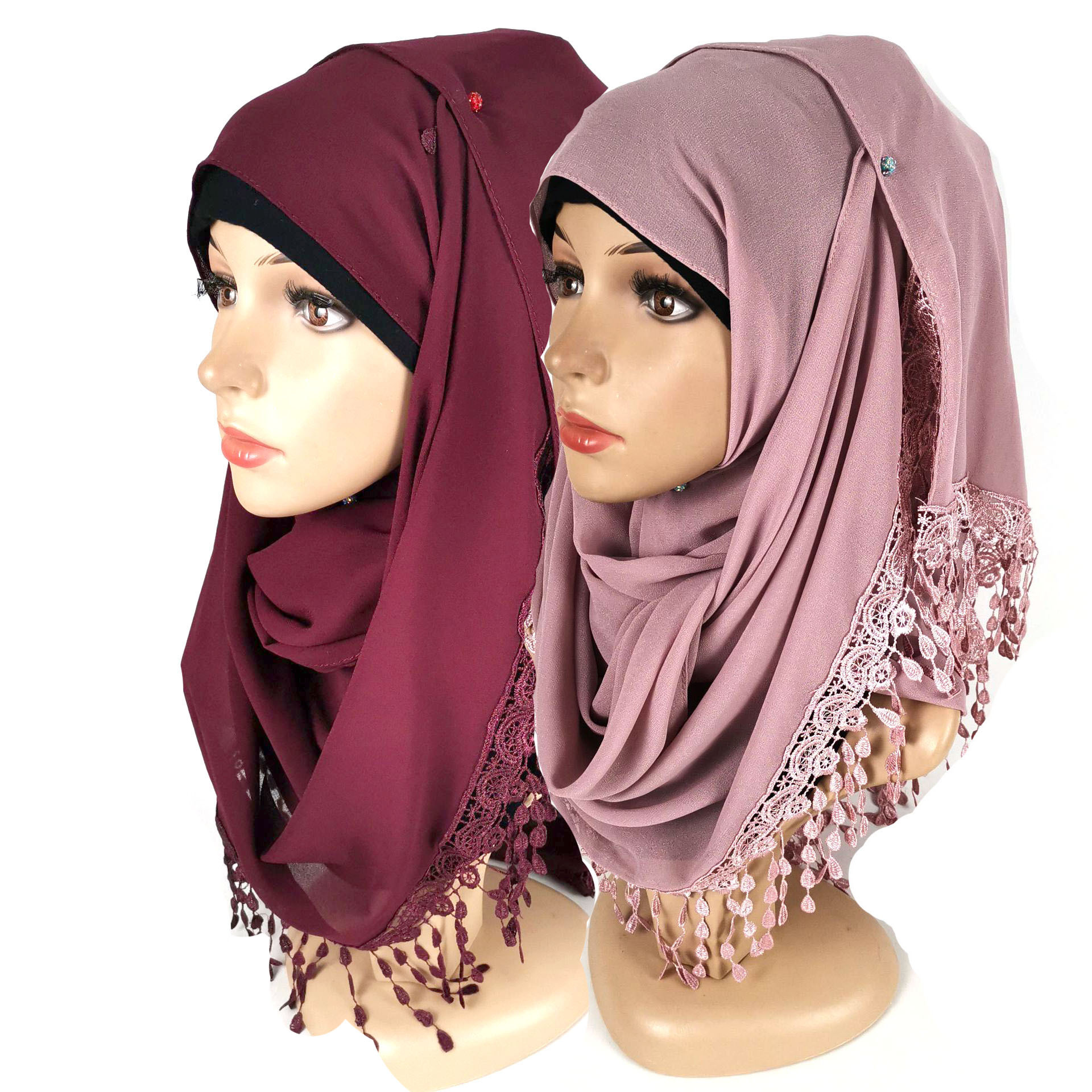 2020Hot Lace Flow Ingestion Pearl Chiffon Bag Headscarf Veil Scarf High Quality Hijab Scarf  Turban  Muslim Dress Chiffon Hijab