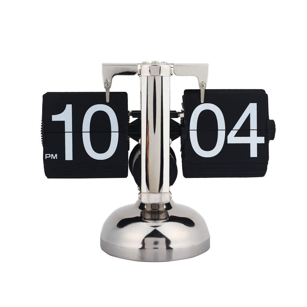 Quality Retro Modern Metal Scale Digital Auto Flip Single Stand Desk Table Clock 1 Piece Black White Automatic Flip Desk Alarm