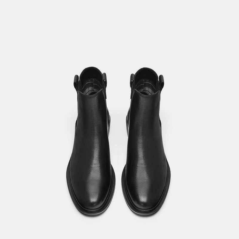 Moda Deri Chelsea Çizmeler Kadın 2019 Sonbahar Kış yarım çizmeler Kadınlar için Tıknaz Topuklu Patik Kadın Kare Ayak Ayakkabı Kadın