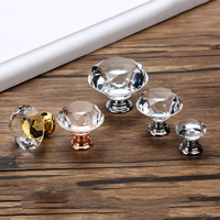 20-40mm Diamond Shape Design Crystal Glass Knobs Cupboard Drawer Pull Kitchen Cabinet Door Wardrobe Handles Hardware