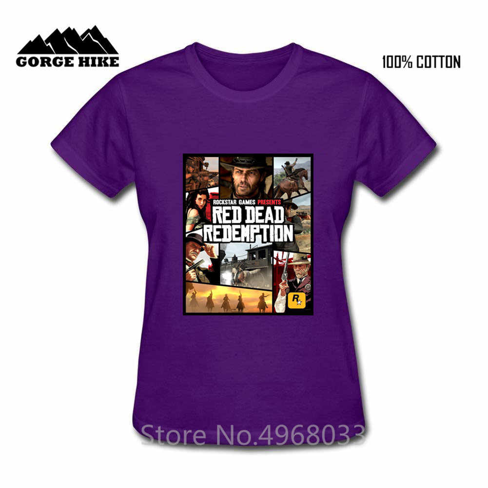 クリエイティブデザインロックスターゲームズプレゼント女性の Tシャツ赤デッド償還西カウボーイ女性 tシャツファム人気トップ Tシャツ