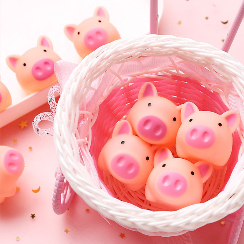 10 Pcs Cute Pig Bath Toy Float Squeeze Sound Dabbling Toys Baby Cartoon Water Swimming Play Bath Soft Rubber Pig Squeeze Toy
