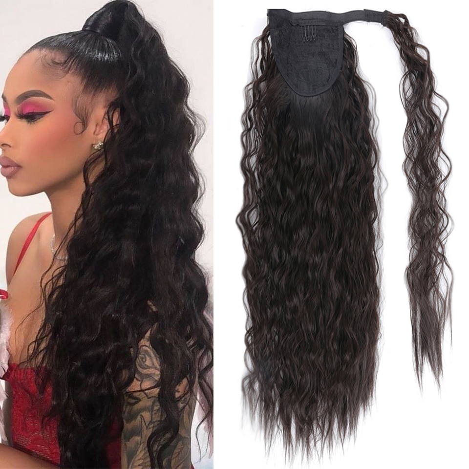 SHANGKE Long Curly Clip In Hair Tail False Hair Ponytail Hairpiece With Hairpins Synthetic Hair Fake Pony Tail Hair Extension