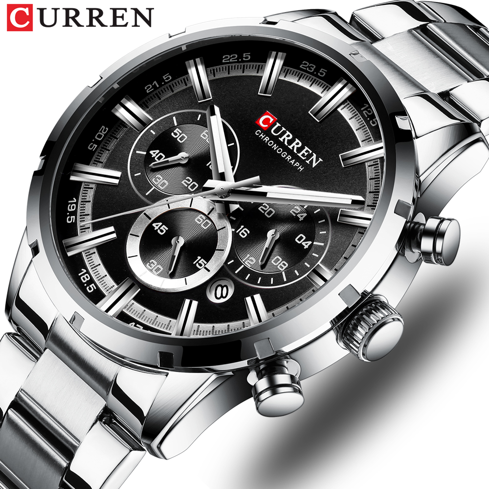 CURREN Luxury Fashion Quartz Watches Classic Silver And Black Clock Male Watch Men's Wristwatch With Calendar Chronograph