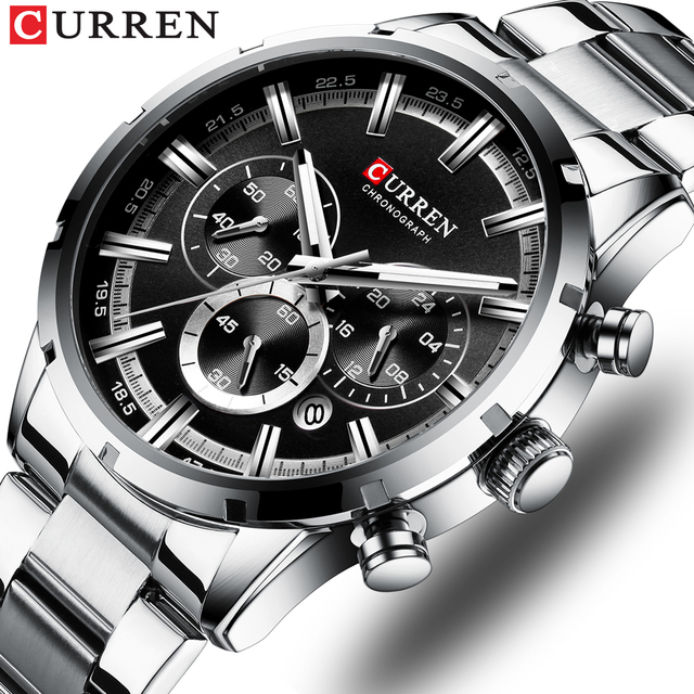 CURREN Luxury Fashion Quartz Watches Classic Silver and black Clock Male Watch Mens Wristwatch with Calendar Chronograph