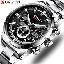 CURREN Luxury Fashion zegarki kwarcowe klasyczny srebrny i czarny zegarek zegarek męski zegarek męski z kalendarzem Chronograph
