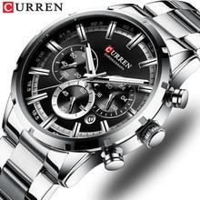 CURREN高級ファッションは、古典的なシルバーとブラック時計男性腕時計メンズ腕時計カレンダークロノグラフ