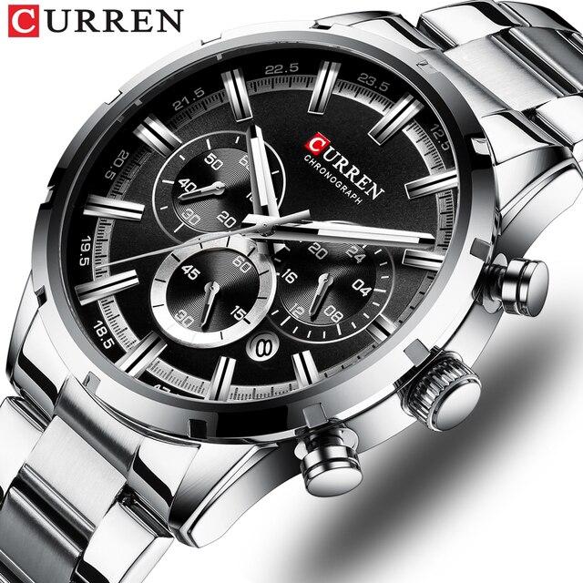 Curren luxo moda quartzo relógios clássico prata e preto relógio masculino relógio de pulso masculino com calendário cronógrafo