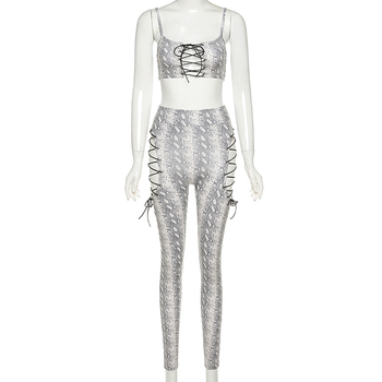 Hollow Out Printed Bandage Two Piece Set Women 2020 Sexy women's Top+High Waist Leggings Party Clubwear Matching Outfits Hot 6