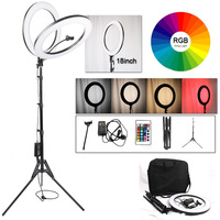 LED Ring Light 18inch RGB 19 Colors Light Dimmable Selfie Ring Lamp Photographic Photo Studio Lighting With Tripod Phone Holder