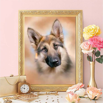 HUACAN Dog Diamond Painting Animal Embroidery Cross Stitch Full Square Round Mosaic Picture Handcraft Home