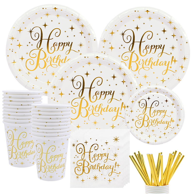 White Gold Dot Disposable Tableware Set Paper Cup Plate Gold Dot Banner Napkin Birthday Wedding Party Tissue Tablewares Supplies