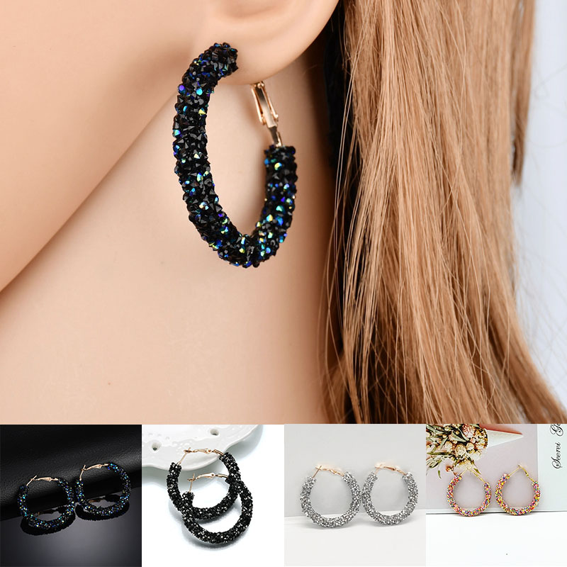 2019 New Fashion Hoop Earrings Bling Bling For Women Shiny Crystal Hollow Round Circle Ear Jewelry Gift For Wedding Brincos