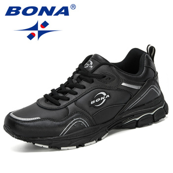 BONA 2019 Action Leather Sneakers Men Running Shoes Outdoor Walking Sport Shoes Men Krasovki Shoes Trendy Jogging Training Shoes фото
