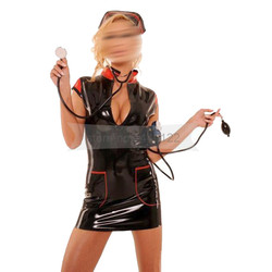 Preto e vermelho guarnições látex cosplay enfermeira vestido fino com chapelaria de borracha fetish festa vestidos femininos bnld133