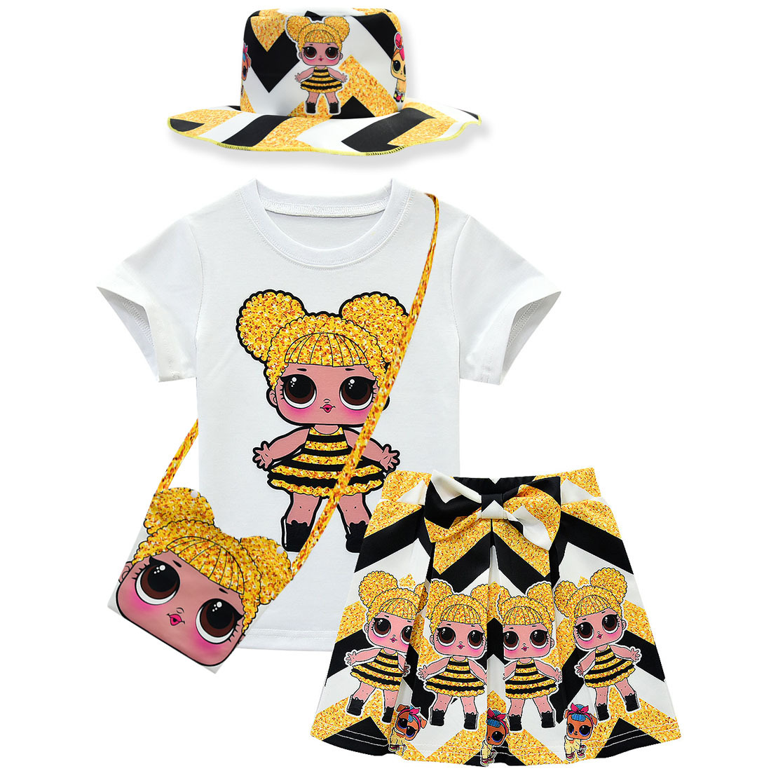 Toddler Kids Girls Lol Clothes Set Summer Cartoon Short Sleeve T-shirt Tops+bag+Skirt+hat Outfit Childred Suit For Girl New 4PCS