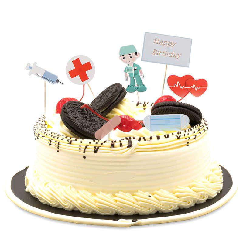 Admirable 7Pcs Happy Birthday Cake Topper Nurse Doctor Design Cupcake Topper Birthday Cards Printable Trancafe Filternl