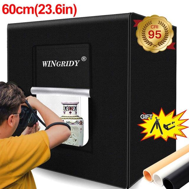 WINGRIDY 60cm LED Folding Photo Studio Softbox Lightbox 60*60 light Tent W60 white yellow black background Accessories box light