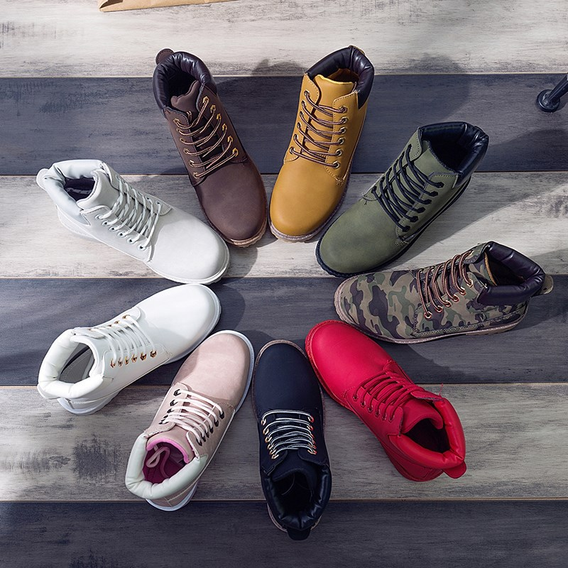 Женские ботинки на шнуровке, зимние теплые ботинки с плюшевой подкладкой, в британском стиле, для студентов, 2020 Полусапожки    АлиЭкспресс
