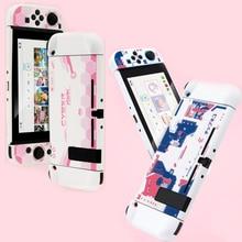 Carcasa protectora rígida para Nintendo Switch, carcasa protectora trasera, color rosa, blanco mate, para NS Joy con