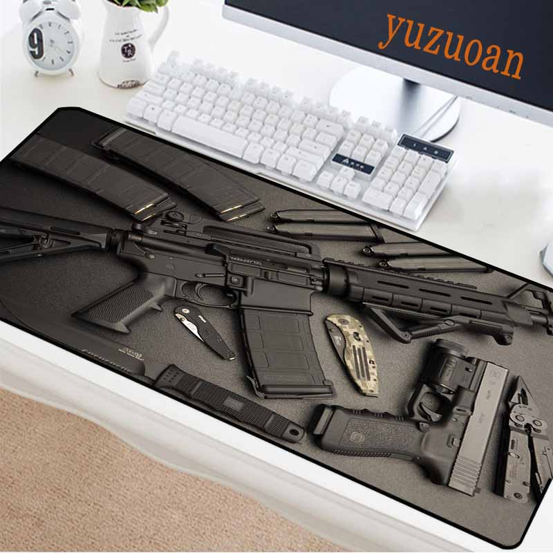 Yuzuoan Computer Game Mouse Pad Gun Fan M416 Rifle Pistol Saber Office Keyboard Mat Natural Rubber Non-slip Waterproof Carpet