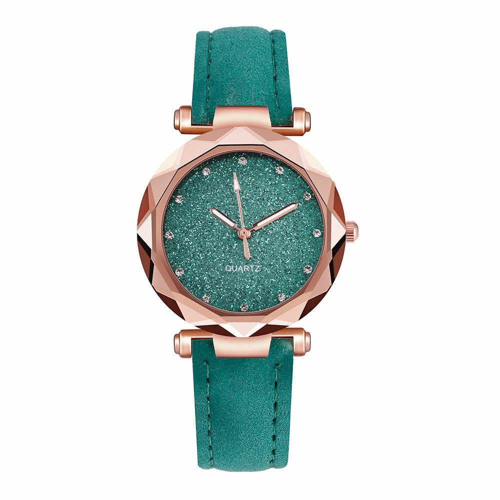 40 ^ Casual kobiety romantyczny Starry Sky Wrist Watch skóra Rhinestone projektant panie zegar prosta sukienka Montre Femme