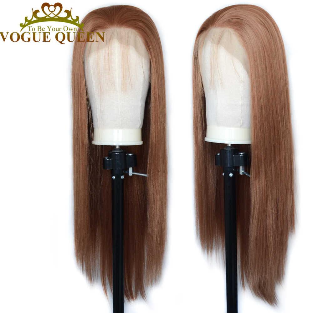 Vogue Queen 13 × 6 Menyoroti Rambut Pirang Campuran Orange Lurus Panjang Renda Sintetis Depan Wig Dipakai Sehari-hari untuk wanita