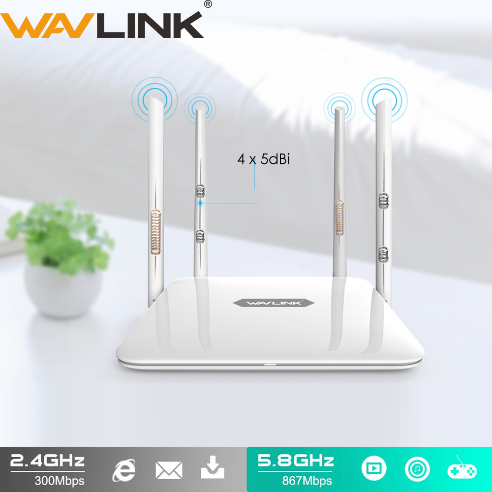 Wavlink AC1200 WiFi Router 5Ghz WiFi Extender 1200Mbps Booster 2.4Ghz WiFi Repeater 4x5dBi Antenna Smart Dual-Band Router