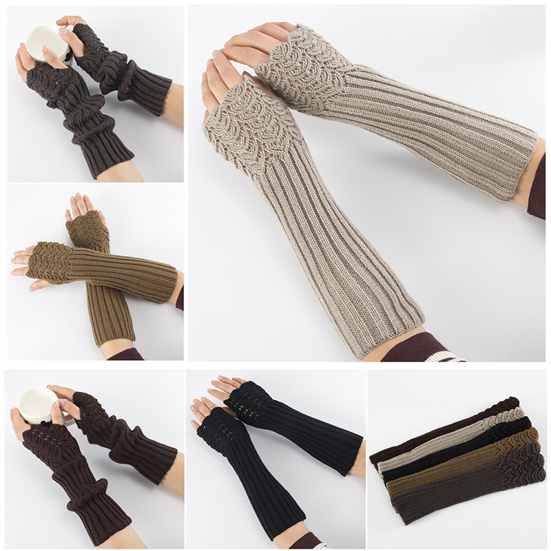1 Pair  Fish Scales Pattern Women Girls Knit Arm Warmer Gloves Winter Autumn Stripe Arm Wrist Sleeve Mittens