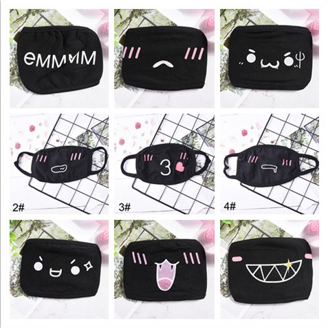 1pcs 32Style Unisex Cartoon Mask Funny Teeth Letter Mouth Black Cotton Half Mouth Mask Anti-bacterial Dust Winter Warm Cute Mask