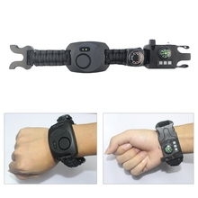 SOS Multifunctional Whistle Watch Alarm Braided  Compass Survival Bracelet Wristband Outdoor Tools HY01
