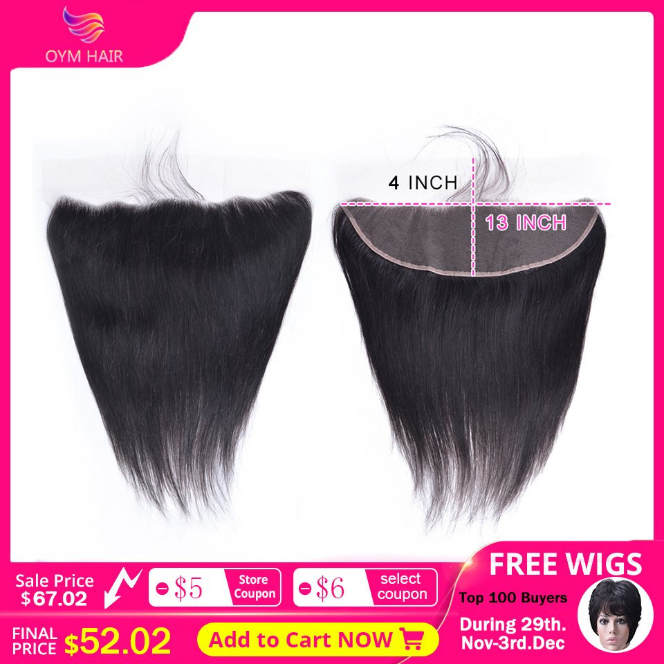 OYM HAIR 13x4 Lace Frontal Ear To Ear HD Transparent Middle Ratio 8-20 Inch Brazilian Straight Remy Human Hair Bleached Knots