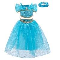 Jasmine Costume Girls Princess Dress up Party Fancy Clothing princess Set Top & Pants &Headband girls Aladdin Magic Lamp Costume