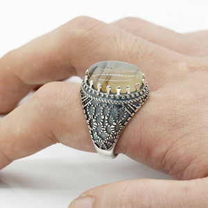 Image 2 - Men Rings Sterling Silver 925 Vintage Thai Silver Men Ring with Big Natural Agate Ring Men Antique Silver Turkish Jewelry Gift
