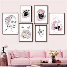 Wall Art Canvas Painting Vogue Women's Perfume Lipstick Flower Bag Nordic Posters And Prints Wall Pictures For Salon Room Decor