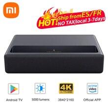 オリジナルxiaomi mijia 4 18kレーザープロジェクターテレビホームシアターアンドロイド6.0 5000ルーメン150インチalpd 3.0ムービープレーヤーwifiドルビーdts 3D