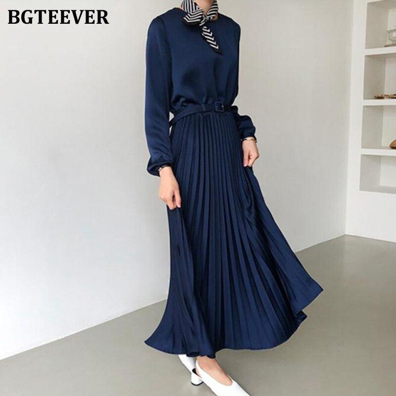 BGTEEVER Elegant O-neck Pleated Dress Women Long Sleeve Sashes Belted High Waist Long Dress Female A-line Ladies Vestidos 2020