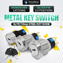 16/19/22MM metal rotary push button brass latching 2 or 3 position Switch Press Button rotary NONC Key metal knob switch